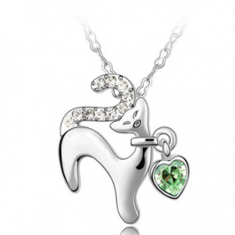 cute cat necklace Crystal From Swarovski green 3