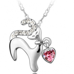 cute cat necklace Crystal From Swarovski rose